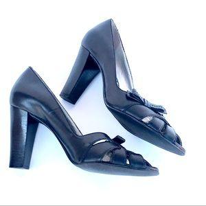 Franco Sarto Black Peep Toe w/ Bow SZ 7M